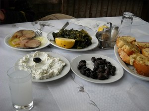 Appetizers with ouzo