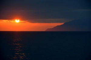 Sunset next to Mnt Athos