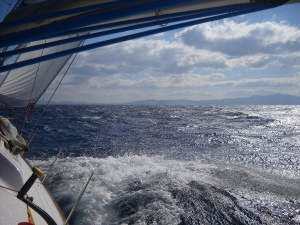 Sailing in meltemi wind