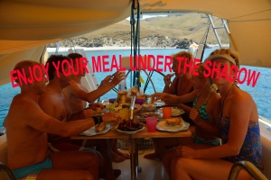 Enjoy your meal under the boat's tent